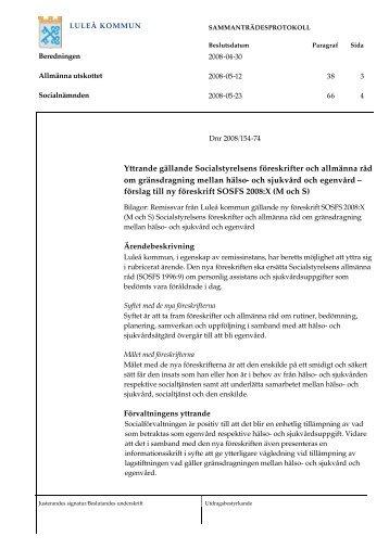 Yttrande gällande Socialstyrelsens föreskrifter och ... - Luleå kommun