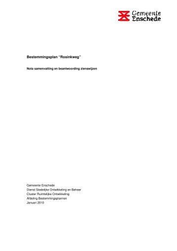 """Bestemmingsplan """"Rosinkweg"""" - ruimtelijkeplannen.enschede.nl ..."""