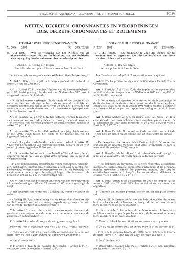 wetten, decreten, ordonnanties en verordeningen lois ... - Assucopie