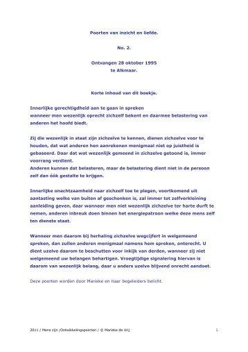 Poorten van inzicht en liefde nr. 2 1995_1996 - Marieke de Vrij