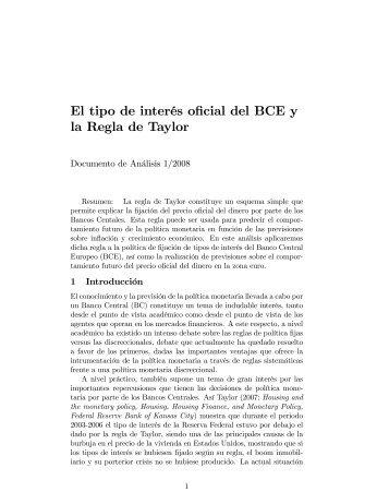 El tipo de interés oficial del BCE y la Regla de Taylor - Economía ...