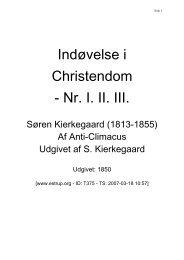 Indøvelse i Christendom - Nr. I. II. III.
