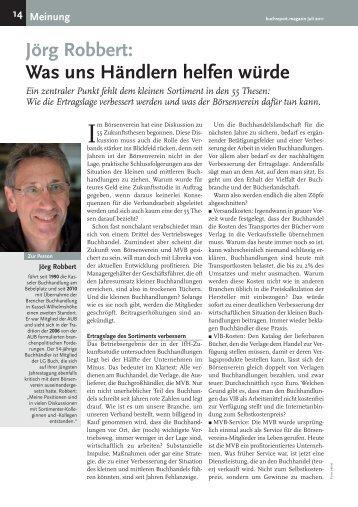 Jörg Robbert: Was uns Händlern helfen würde Ein ... - Buchreport