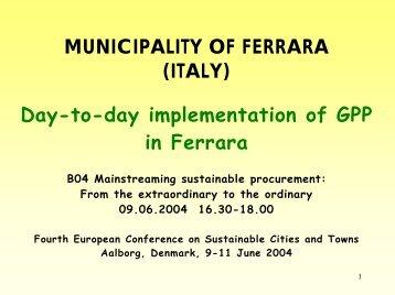 Nessun titolo diapositiva - Comune di Ferrara