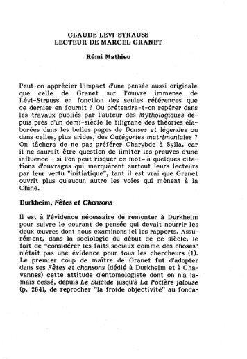 CLAUDE LEVI-STRAUSS LECTEUR DE MARCEL GRANET ... - AFEC