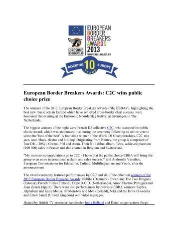 European Border Breakers Awards: C2C wins public ... - Buma Cultuur