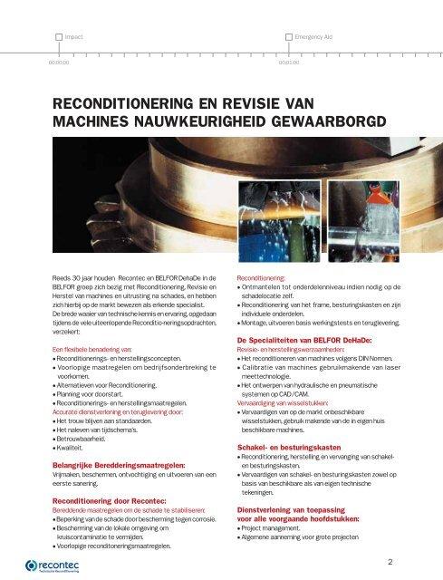 RECONDITIONERING EN HERSTELLING VAN MACHINES - Belfor