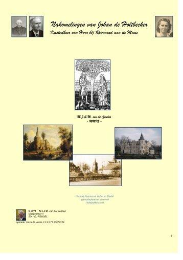 Nakomelingen van Johan de Holtbecker - Thijs van der Zanden
