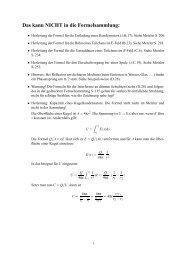 Das kann NICHT in die Formelsammlung: