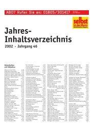 Jahres- Inhaltsverzeichnis 2002 • Jahrgang 46 - Selbst ist der Mann