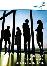 Verslag aan de aandeelhouders en aan de samenleving - Umicore