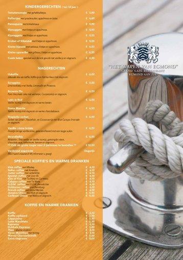 Dinerkaart (NL) - Het Wapen van Egmond