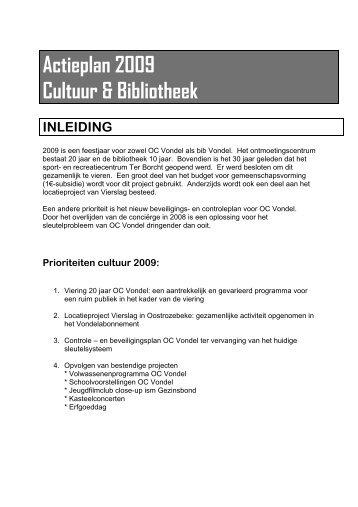 Actieplan 2009 Cultuur & Bibliotheek - Gemeente Meulebeke