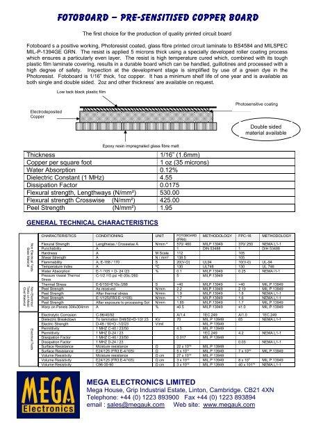 MSDS FR4 FOTOBOARD Data - Mega Electronics