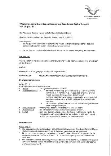 Wijzigingsbesluit rechtspositieregeling Brandweer Brabant-Noord