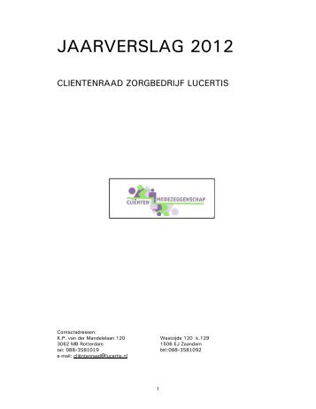 Jaarverslag Clientenraad Lucertis 2012