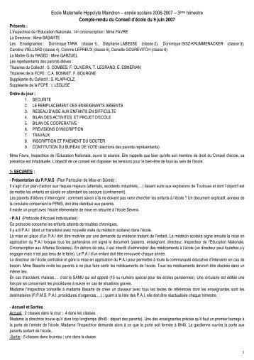 Ecole Maternelle Hippolyte Maindron – année scolaire 2006-2007 ...