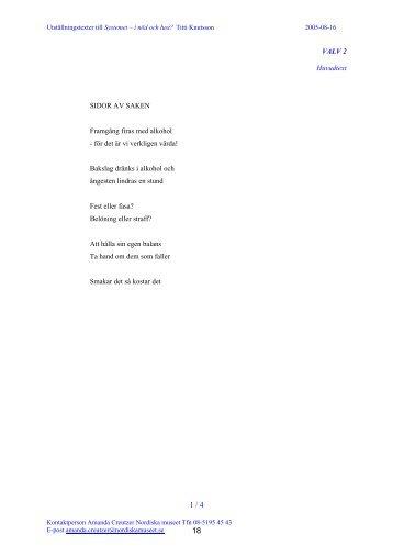 Utdrag ur manus till texterna (pdf) - Textmakare Knutsson