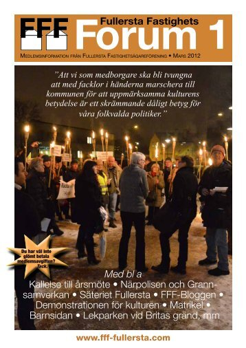 Fullersta Fastighets Med bl a Kallelse till årsmöte • Närpolisen ...