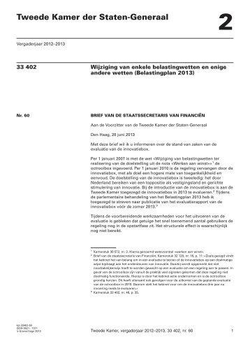 brief regering; Stand van zaken van de evaluatie van de innovatiebox
