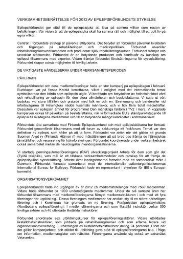 verksamhetsberättelse för 2012 av epilepsiförbundets styrelse