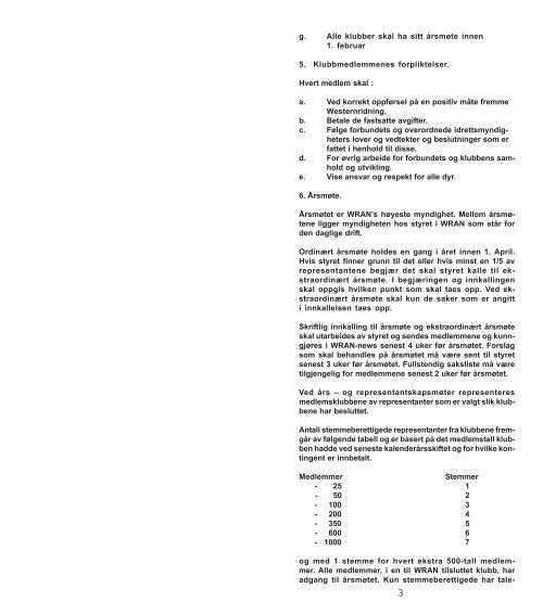 INNHOLD: Vedtekter 2 Konkurranseregler Krav for ... - WRAN