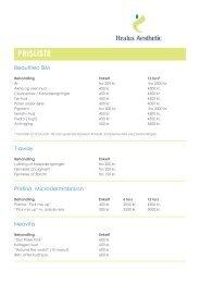 PRISLISTE - Healux Klinikken