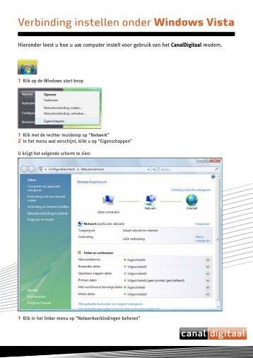 Verbinding instellen onder Windows Vista - CanalDigitaal