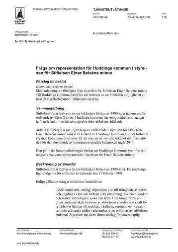 18. Fråga om representation för Huddinge kommun i styrelsen för ...