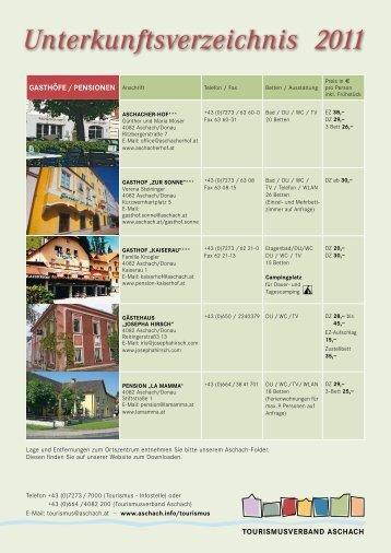 Unterkunftsverzeichnis 2011 - Aschach an der Donau