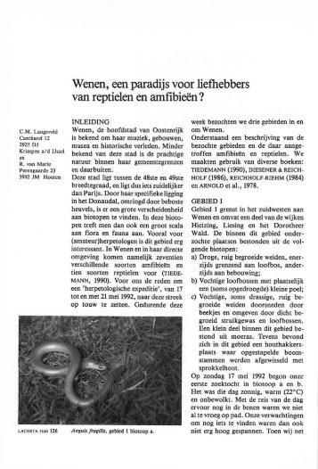 Wenen, een paradijs voor liefhebbers van reptielen en ... - Lacerta