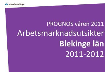 Arbetsmarknadsutsikter Blekinge län 2011-2012 - Region Blekinge