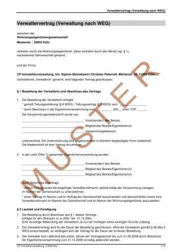 Muster Verwaltervertrag Weg Strothe Hausverwaltung Gmbh