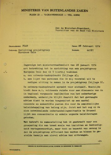 MINISTERIE VAN BUITENLANDSE ZAKEN - Historici.nl