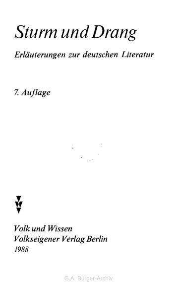 Sturm und Drang - Leben und Werk des Dichters Gottfried August ...