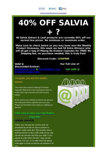 You Win: 1 Ounce Free Kratom or 40% OFF SALVIA 40X - FatWallet