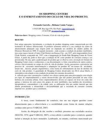 OS SHOPPING CENTERS E O ENFRENTAMENTO DO ... - fauusp