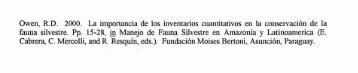 Owen, R.D. 2000. La importancia de 10s ... - FAUNA Paraguay
