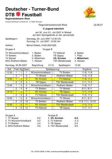 Westdeutsche Meisterschaft männl. C-Jugend, 30.06 ... - VfL Kirchen