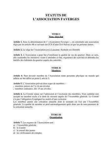 statuts de l'association faverges - Centre de Rencontre et d ...