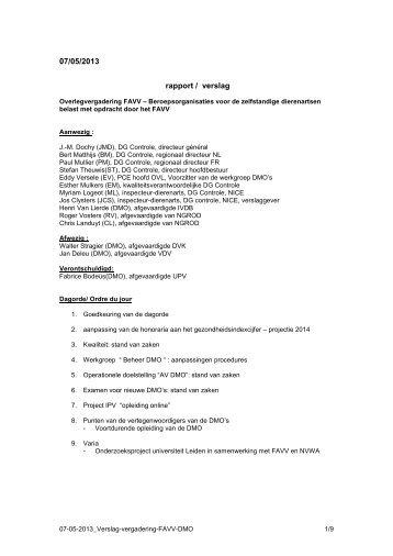 Vergadering van 07/05/2013 - Favv