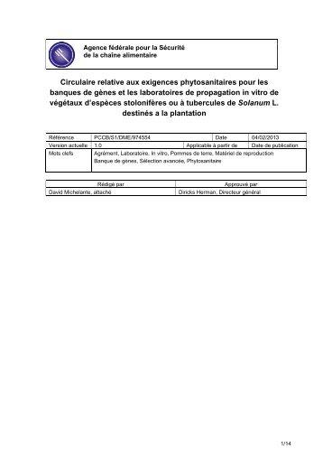 Circulaire relative aux exigences phytosanitaires pour les ... - Favv