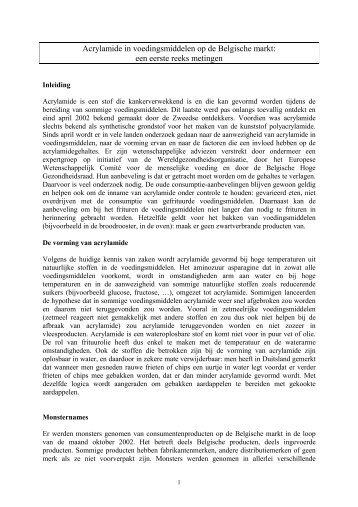 Acrylamide in voedingsmiddelen op de Belgische markt: een ... - Favv
