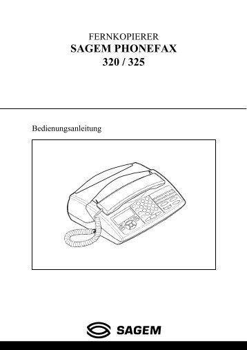 SAGEM PHONEFAX 320 / 325 - Fax-Anleitung.de