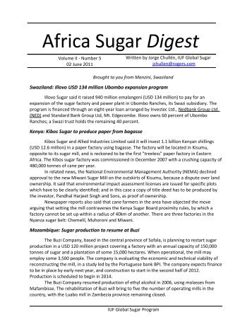 Africa Sugar Digest vol2: Number 5 - Food and Allied Workers Union
