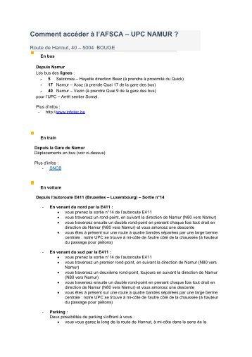 Comment accéder à l'AFSCA – UPC NAMUR ? - Favv