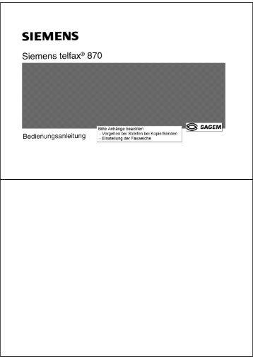 BDA Siemens Telfax 870 - Fax-Anleitung.de