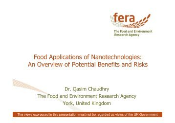 Food Applications of Nanotechnologies: An Overview of ... - Favv