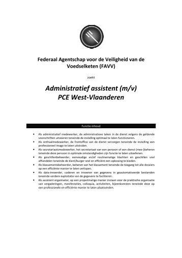 Administratief assistent (m/v) PCE West-Vlaanderen - Favv
