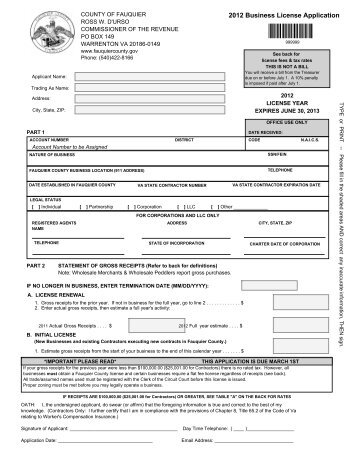 2012 Business License Application - Fauquier County